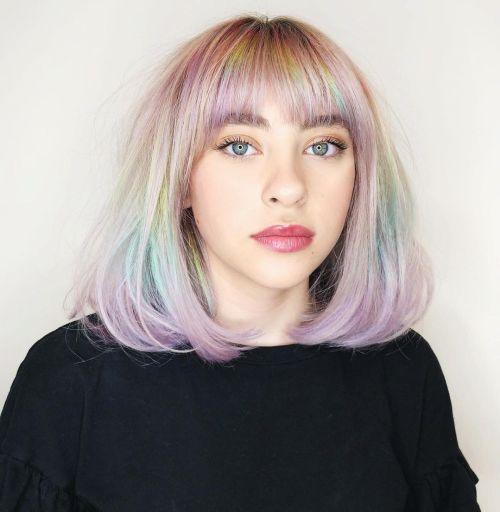 Fantasy Hairstyle with Rainbow Colors and Soft Curled Ends