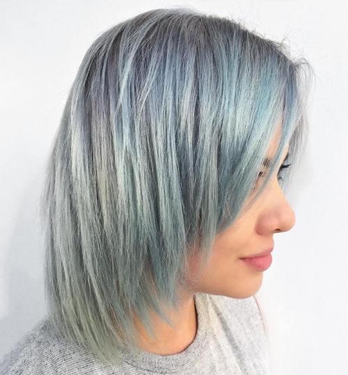 Mid Length Pastel Blue Hair