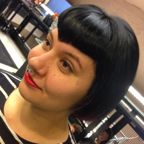 short bob with V-shaped straight fringe