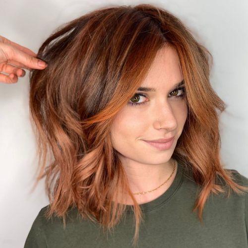 Medium Length Auburn Hair with Face Framing Layers