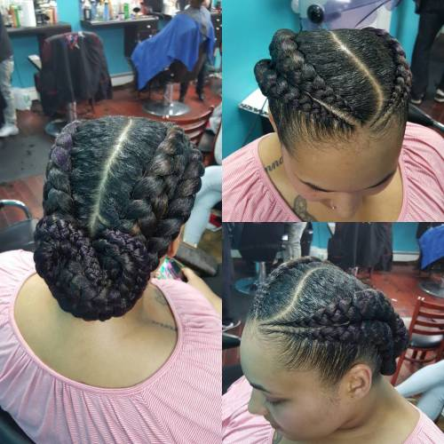 70 best black braided hairstyles that turn heads in 2017 double goddess braids with a low bun pmusecretfo Images