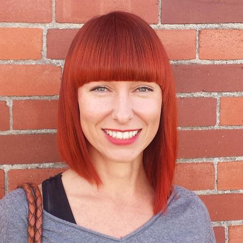 40 universal medium length haircuts with bangs long red asymmetrical bob urmus Gallery