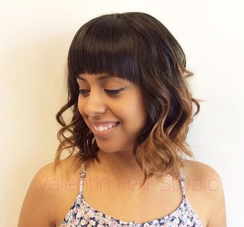 40 universal medium length haircuts with bangs long wavy bob with caramel ends and arched bangs urmus Gallery