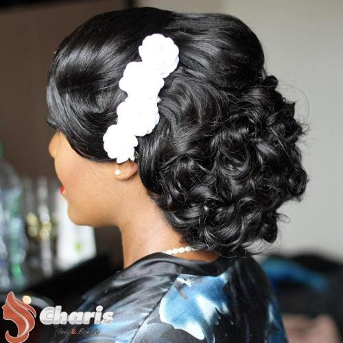 Black Formal Curly Updo