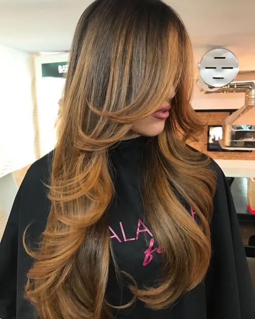 Caramel Brown Layered Haircut For Long Hair