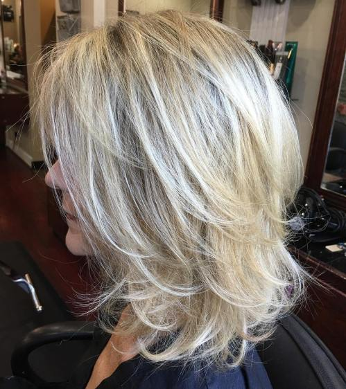 Medium Layered Blonde Hairstyle
