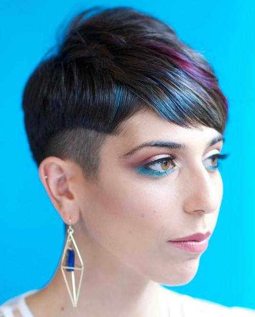 short sassy women's haircut with undercut and balayage