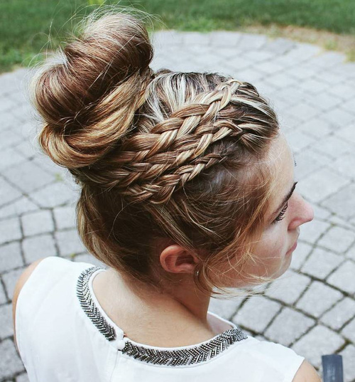 triple braid bun prom updo