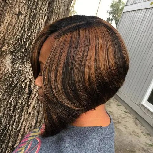 Black Side Parted Angled Bob With Highlights