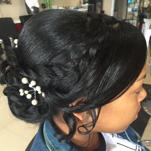 Black Wedding Updo For Relaxed Hair