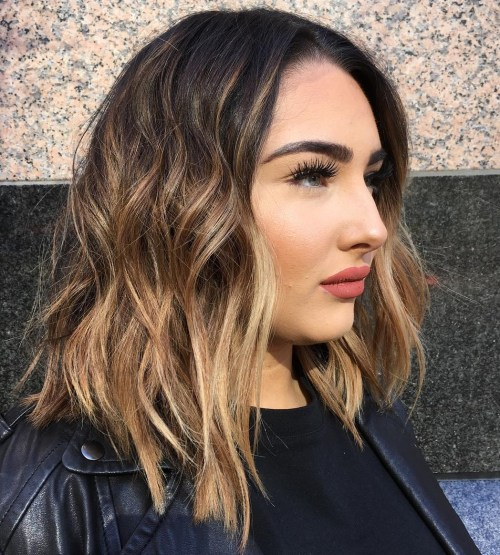 Long Wavy Choppy Bob For Round Faces