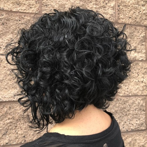 Angled Curly Black Bob