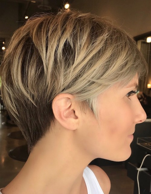 Brondebalayage Pixie With V-Cut Nape