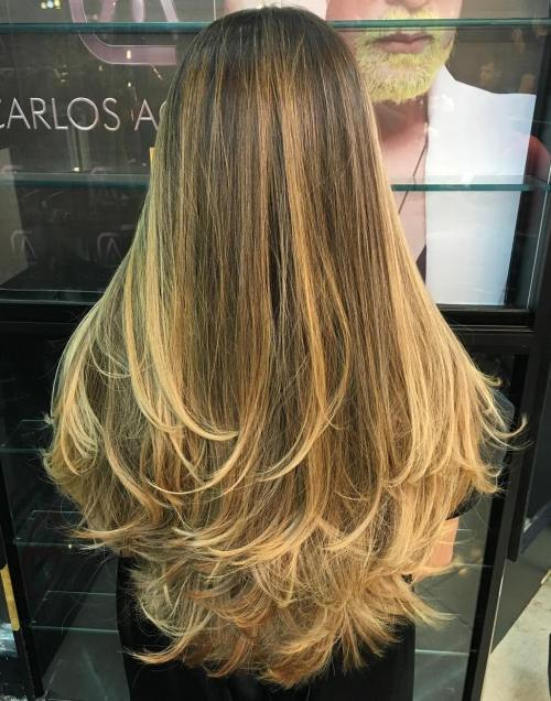 Long Layered Hair With Blonde Balayage