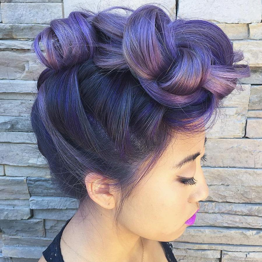 Exceptional Pastel Purple Knotted Mohawk Updo