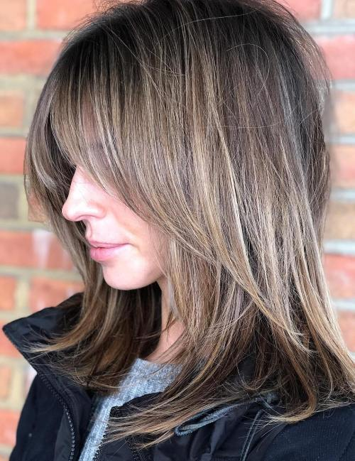 Messy Mid-Length Cut with Swoopy Layers