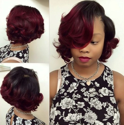 Black To Burgundy Ombre Bob