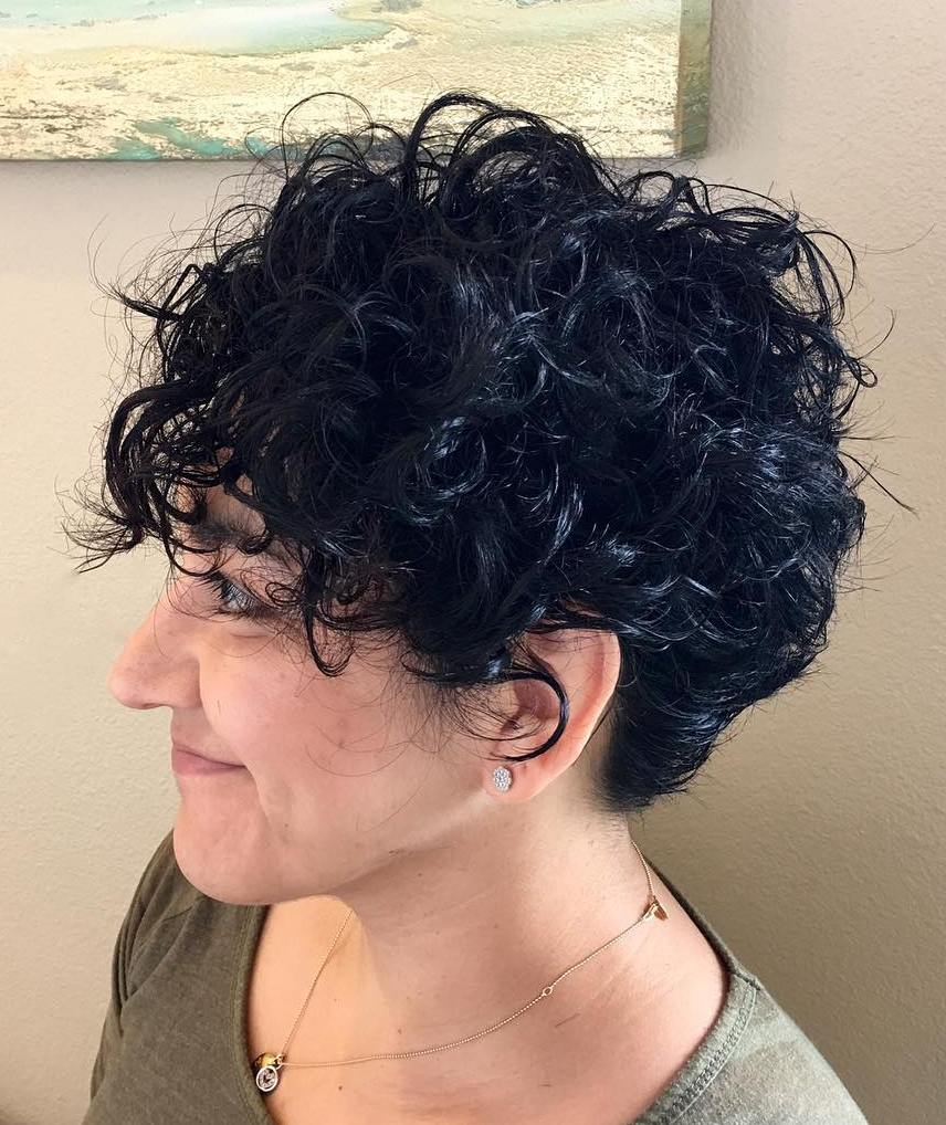 Black Tousled Curly Pixie