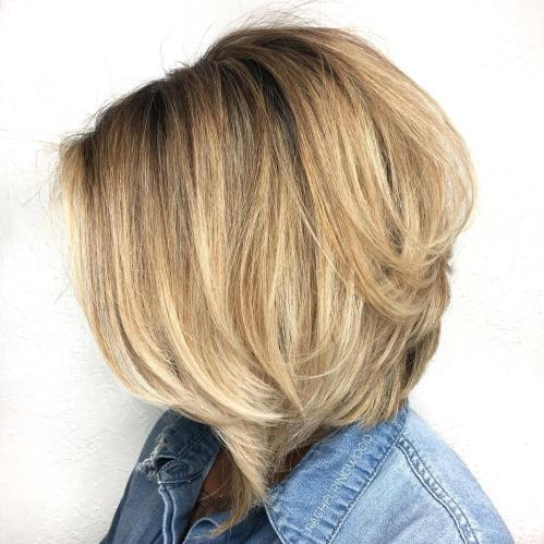 Layered A-Line Bronde Bob For Thick Hair
