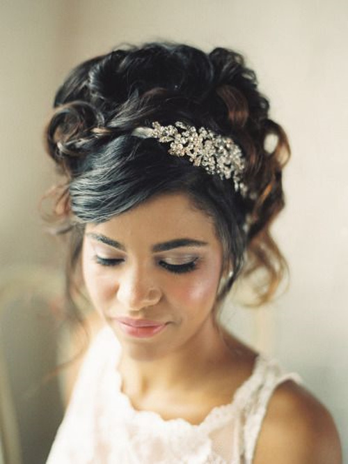 black wedding updo with bangs
