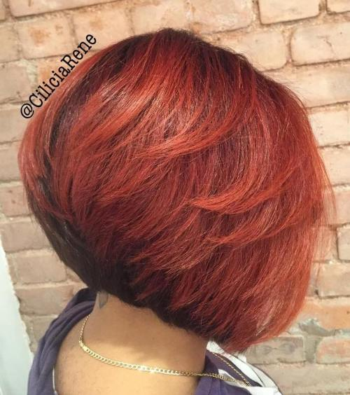 Angled Black And Red Bob With Layers