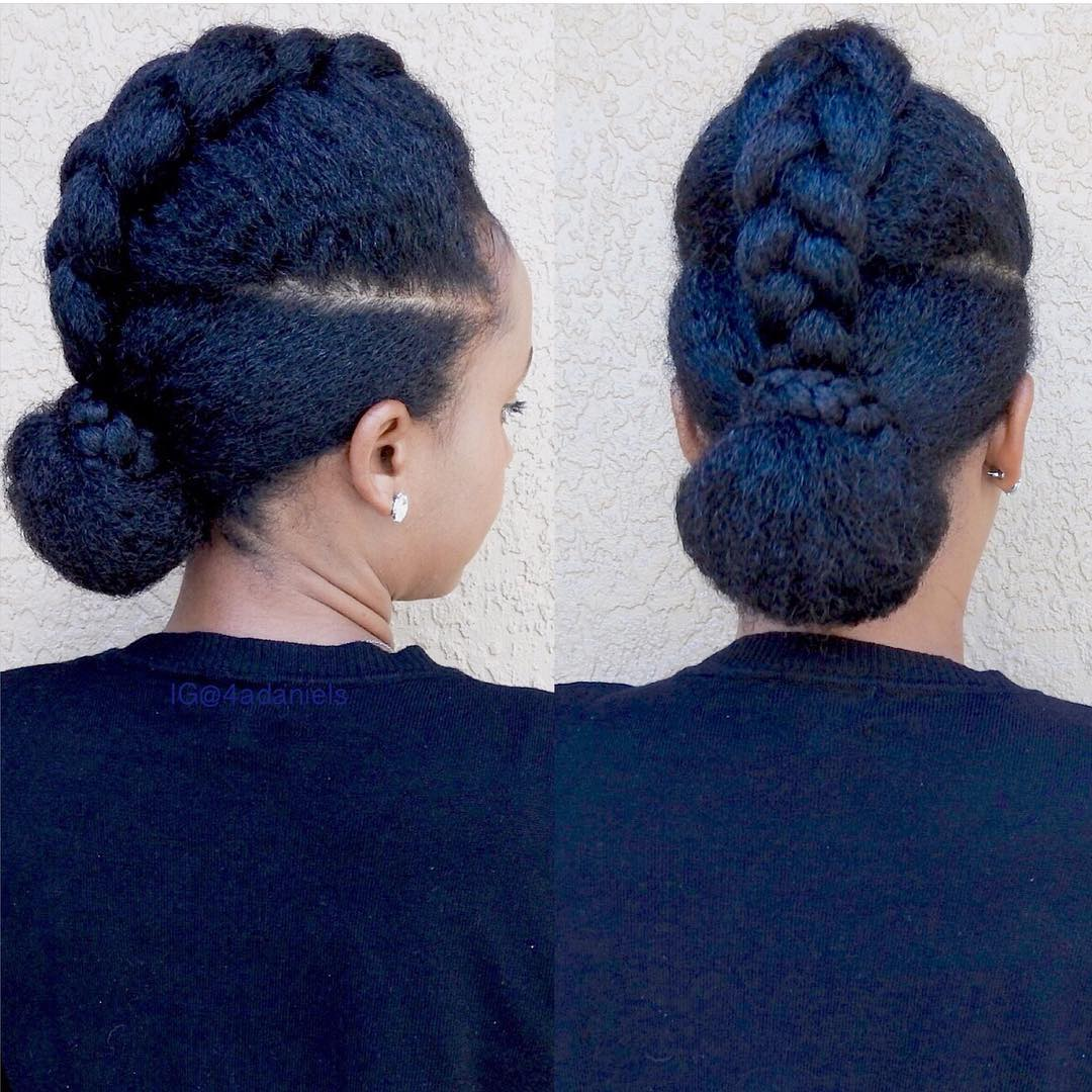 braid into bun updo for natural hair