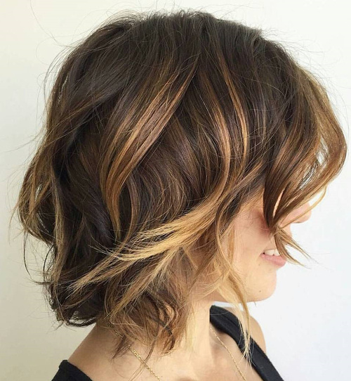 Brown Messy Balayage Bob