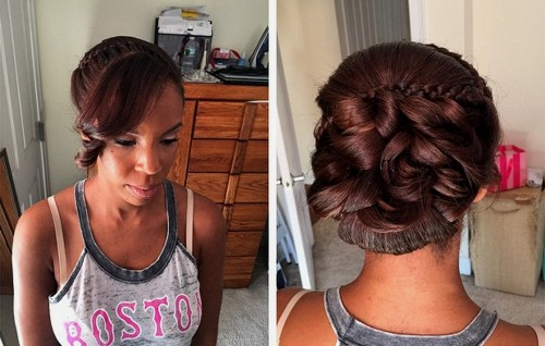 African American wedding updo with bangs