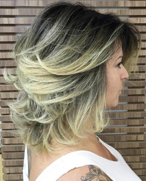 Blonde Balayage Shag With Black Roots