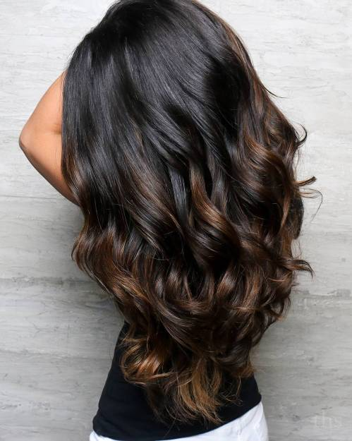 Long Dark Hair With Brown Highlights