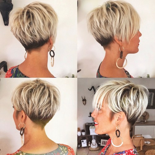 Short Layered Black And Blonde Haircut