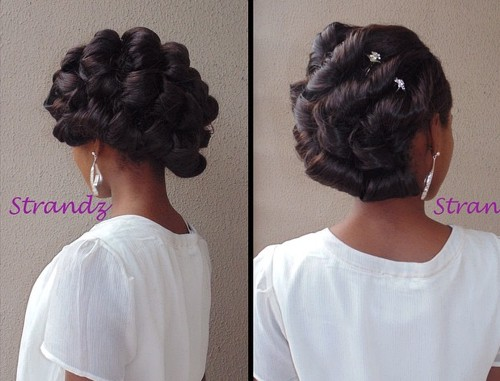 black bridal twisted updo