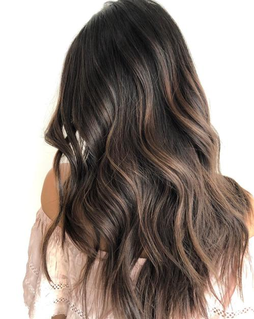 Long Chocolate Balayage Hair With Waves