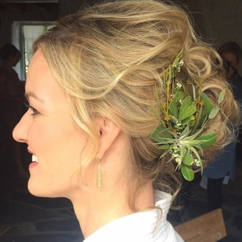 Messy Updo With Greenery