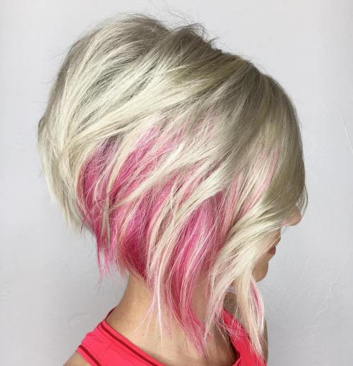 Platinum Bob With Pink Peekaboo Highlights