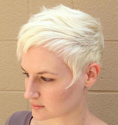 blonde choppy pixie with short bangs