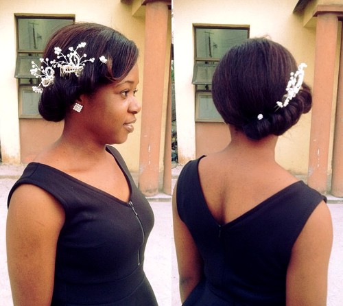 gibson tuck bridal updo for black women