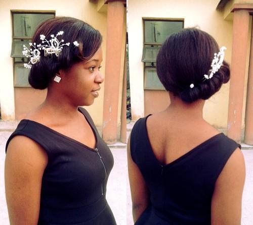 gibson tuck bridal updo for black women