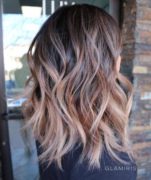 Wavy Light Brown Balayage Hair
