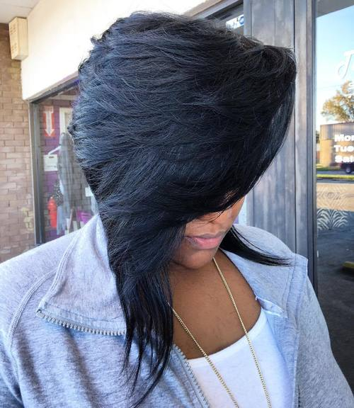Black Asymmetrical Layered Bob