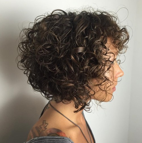 Natural Curly Bob With Bangs