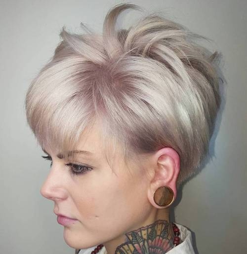 Ash Blonde Spiky Pixie Hairstyle