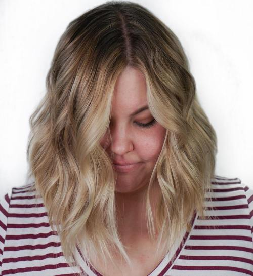 Asymmetrical Wavy Lob For Chubby Faces