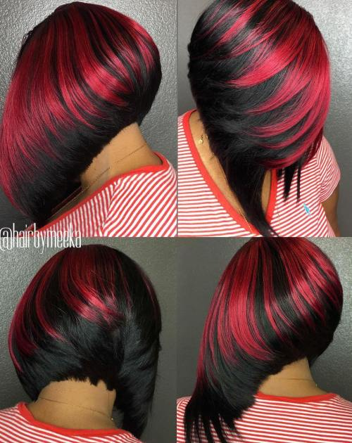 Black-And-Red Angled Bob Weave
