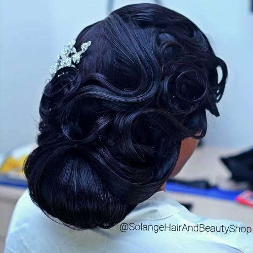 Black Wedding Vintage Updo