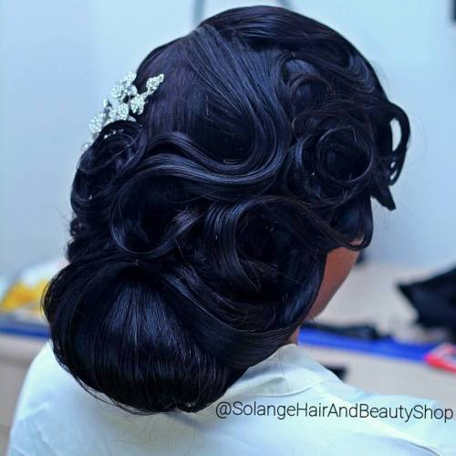 Black Wedding Vintage Updo