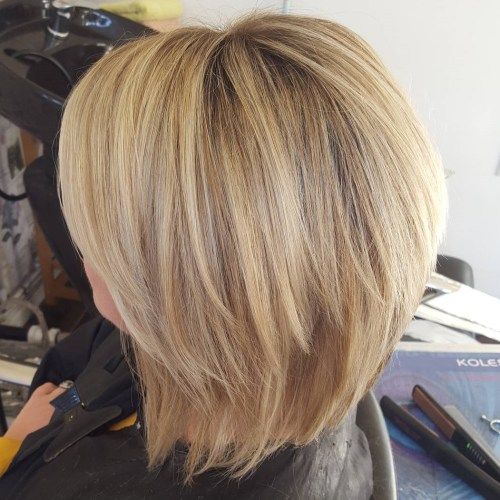 Caramel Blonde Two-Tier Bob