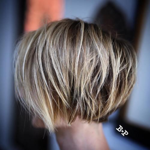 Razored Bronde Bob For Fine Hair