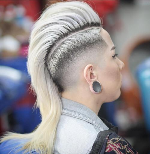 Women's Long Mohawk With Taper Fade