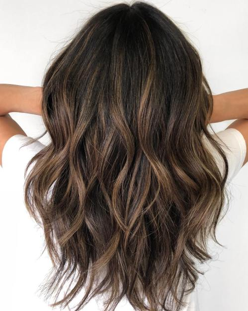 Choppy Layered Dark Brown Hair With Highlights